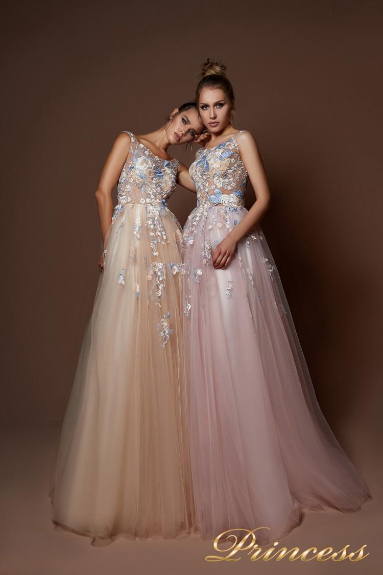 Вечернее платье 9082 бежевого цвета