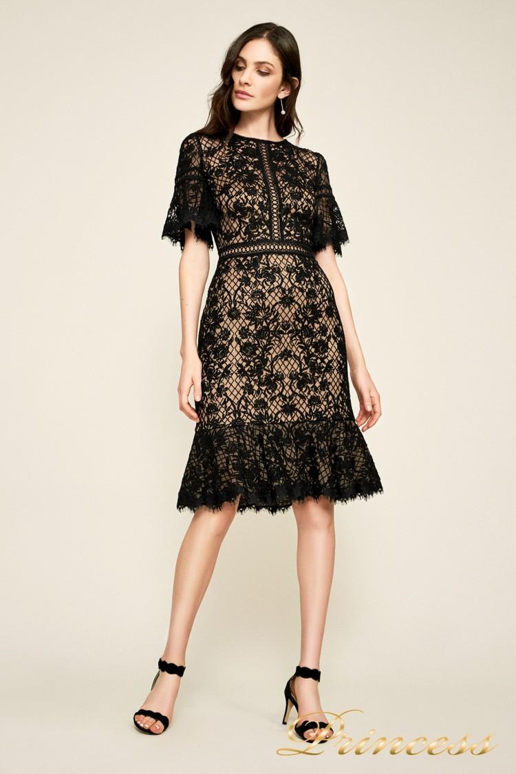 Вечернее платье BEI18930M black nude чёрного цвета