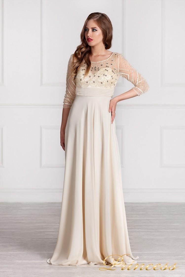 Длинное Платье Кремового Цвета